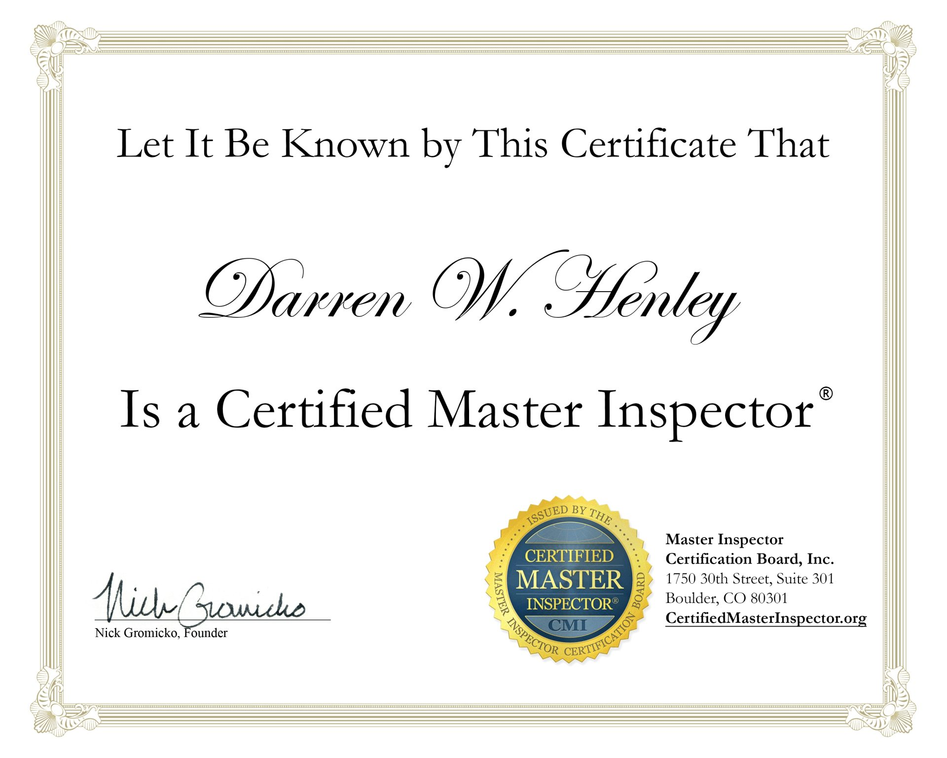 Darren Henley Home Inspector